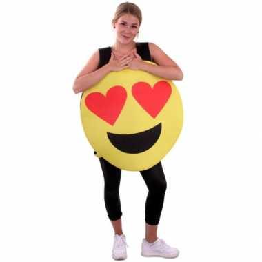 Originele emoticon carnavalskleding hartjes ogen volwassenen