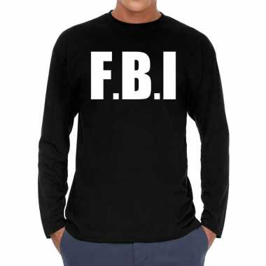 Originele f.b.i. long sleeve t shirt zwart heren carnavalskleding
