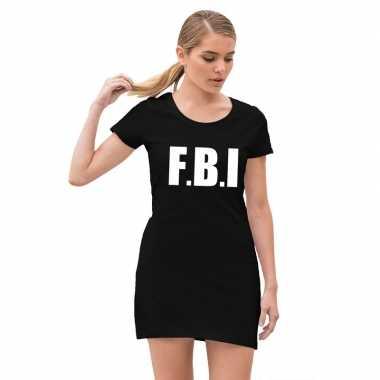 Originele fbi politie verkleed carnavalskleding zwart dames