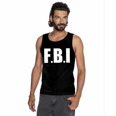 Originele fbi tekst singlet shirt/ tanktop zwart heren carnavalskledi