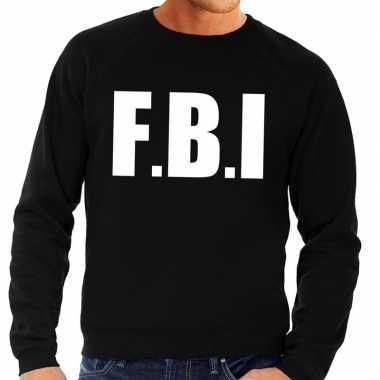 Originele fbi tekst sweater / trui zwart heren carnavalskleding