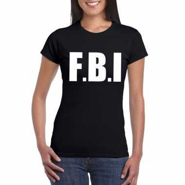 Originele fbi tekst t shirt zwart dames carnavalskleding