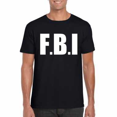 Originele fbi tekst t shirt zwart heren carnavalskleding