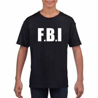 Originele fbi tekst t shirt zwart kinderen carnavalskleding