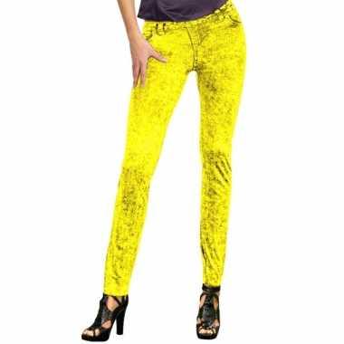 Originele feestcarnavalskleding jeans legging neon geel