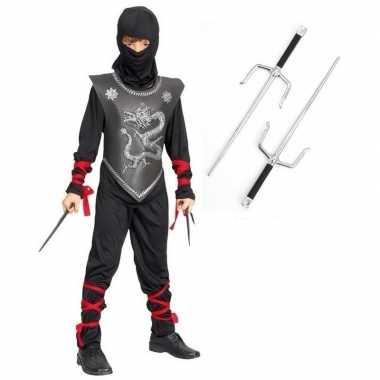 Originele feestcarnavalskleding ninja dolkenset maat l kinderen