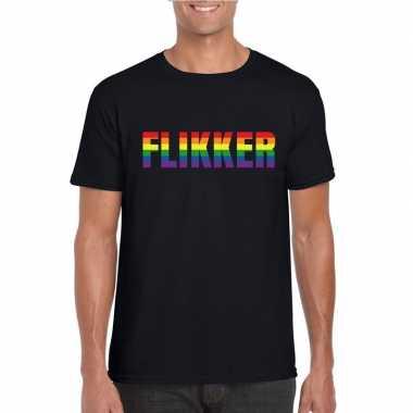 Originele flikker regenboog tekst shirt zwart heren carnavalskleding