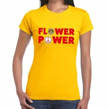Originele flower power tekst t shirt geel dames carnavalskleding
