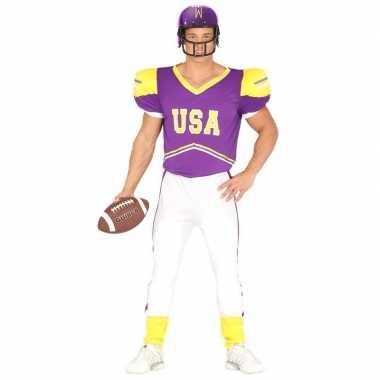 Originele football carnavalskleding paars/geel heren