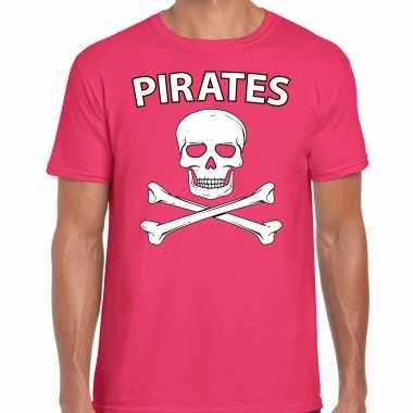 Originele fout piraten shirt / foute party verkleed shirt roze heren carnavalskleding