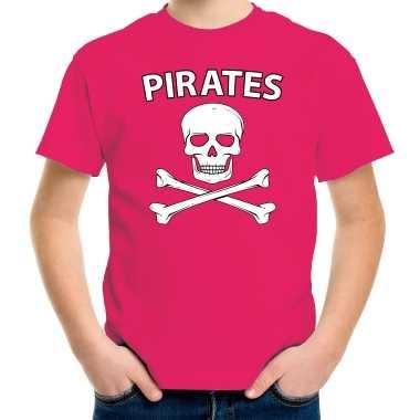 Originele fout piraten shirt / foute party verkleed shirt roze kids carnavalskleding