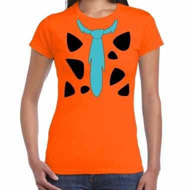 Originele fred holbewoner carnavalskleding t shirt oranje dames
