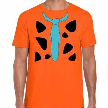 Originele fred holbewoner carnavalskleding t shirt oranje heren