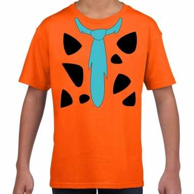 Originele fred holbewoner carnavalskleding t shirt oranje kinderen