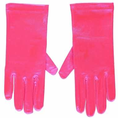 Originele fuchsia roze gala handschoenen kort satijn carnavalskleding
