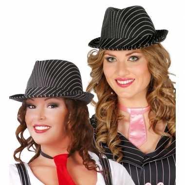 Originele gangster hoed zwart/wit dames/heren carnavalskleding