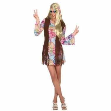 Originele gekleurde hippie/flower power verkleed carnavalskleding dam