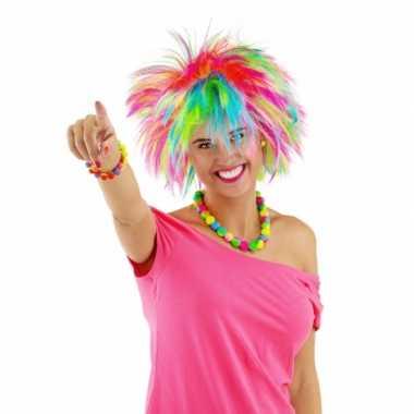 Originele gekleurde pieken damespruik carnavalskleding