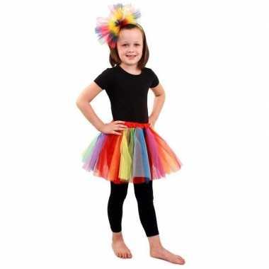 Originele gekleurde regenboog petticoat meisjes carnavalskleding