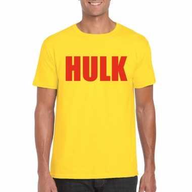 Originele gele hulk t shirt rode letters heren carnavalskleding