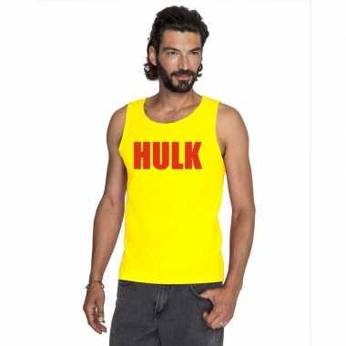 Originele gele hulk tanktop / hemdje rode letters heren carnavalskled