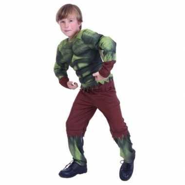 Originele gespierde groene held carnavalskleding jongens