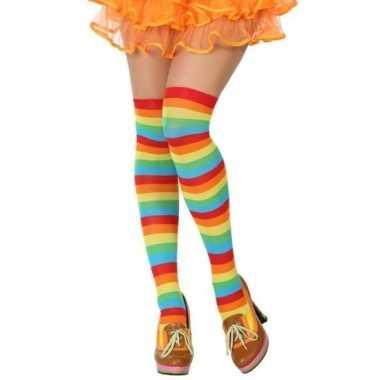 Originele gestreepte kousen clown verkleed accessoire dames carnavals