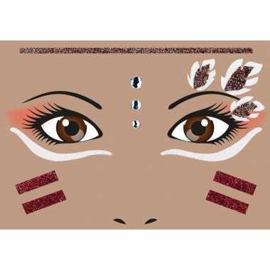 Originele gezicht stickers indiaan vel carnavalskleding