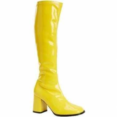 Originele glimmende gele laarzen dames carnavalskleding