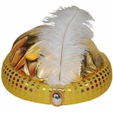 Originele goud arabisch sultan hoedje diamant veer carnavalskleding