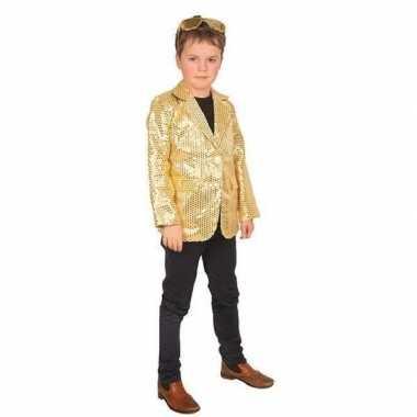 Originele goud glitter verkleed jasje kinderen carnavalskleding