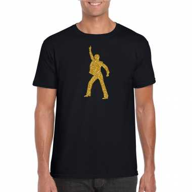 Originele gouden disco t shirt / carnavalskleding zwart heren