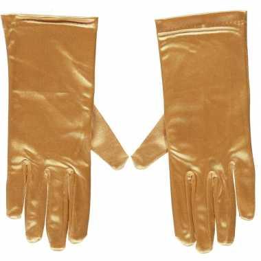 Originele gouden gala handschoenen kort satijn carnavalskleding