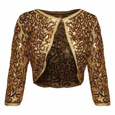 Originele gouden glitter pailletten disco bolero jasje dames carnaval