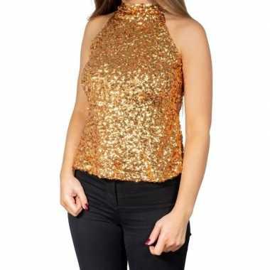 Originele gouden glitter pailletten disco halter topje/ shirt dames c