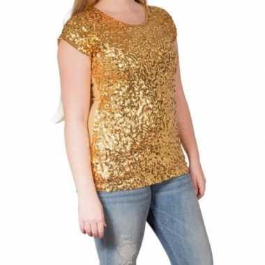 Originele gouden glitter pailletten disco shirt dames l/xl carnavalsk