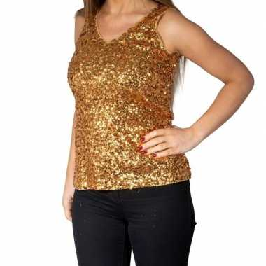 Originele gouden glitter pailletten disco topje/ mouwloos shirt dames