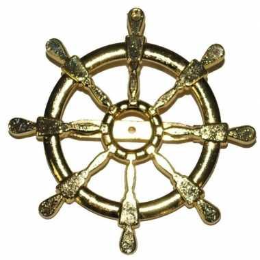 Originele gouden matroos/zeeman verkleed broche scheepsroer carnavals