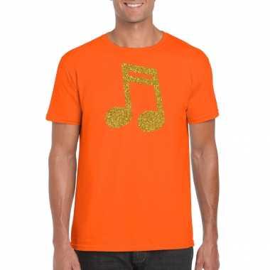 Originele gouden muziek noot / muziek feest t shirt / carnavalskleding oranje heren