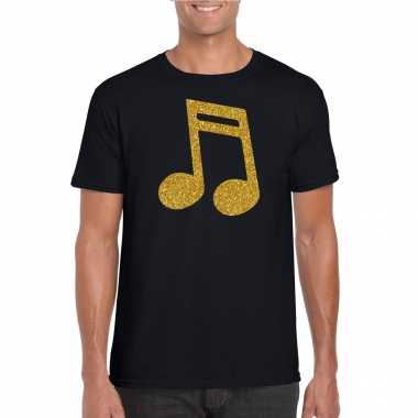 Originele gouden muziek noot / muziek feest t shirt / carnavalskleding zwart heren