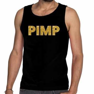 Originele gouden pimp glitter tanktop / mouwloos shirt zwart heren carnavalskleding