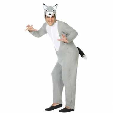 Originele grijze wolf dieren verkleed carnavalskleding/onesie volwass