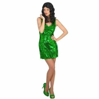 Originele groen disco verkleed carnavalskleding pailletten dames