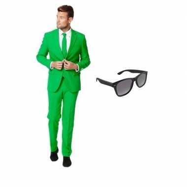 Originele groen heren carnavalskleding maat (m) gratis zonnebril