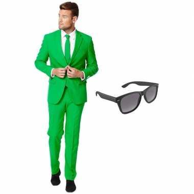 Originele groen heren carnavalskleding maat (xxxl) gratis zonnebril