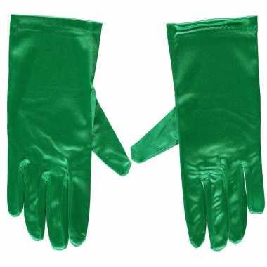 Originele groene gala handschoenen kort satijn carnavalskleding