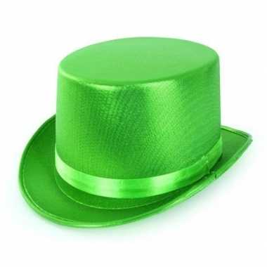 Originele groene hoge hoed metallic volwassenen carnavalskleding