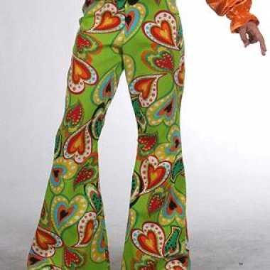 Originele groene kinderbroek hippie hartjes carnavalskleding