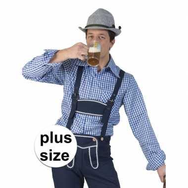 Originele grote maat blauw/wit geruit tiroler verkleed overhemd heren