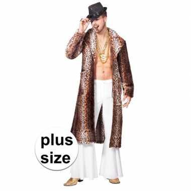 Originele grote maat bruine pimp/pooier verkleed jas heren carnavalsk